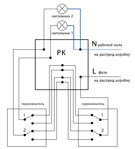 Схема подключения двухклавишного проходного выключателя.