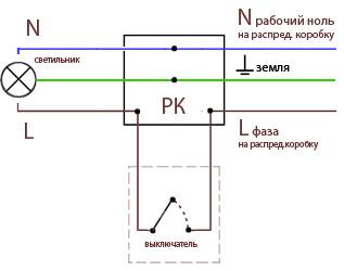 схема расключения двухклавишного выключателя.