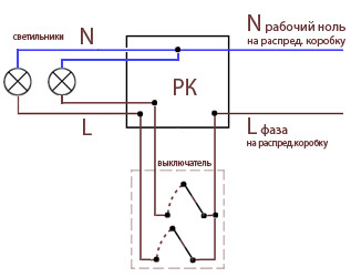 Схема подключения одноклавишный выключатель.  Соединение лучше Простой выключатель.